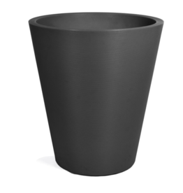 "Planter, Tapered Round Plastic with Ribbing, H30"" D27"""