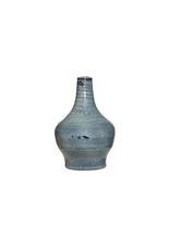 "5x7.75"" Blue Reactive Glaze Terra Cotta Vase"