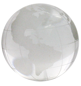 Globe, Glass, Clear Etched, Large