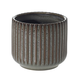 "Habitat Pot, Ribbed Ceramic, 3"" x 2.75"""