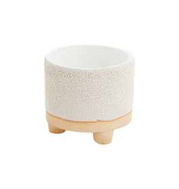 """Pot, Delray, 2 Toned Cream Footed, 2.25"""" x 2"""""""