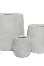 """Medium Off-White Fibre Clay Planter with Pattern D11""""  H13"""""""