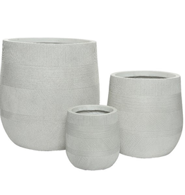 "Small Off-White Fibre Clay Planter with Pattern D7""  H8.5"""