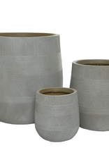"""Small Taupe Fibre Clay Planter with Pattern D7""""  H8.5"""""""