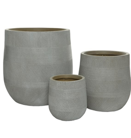 "Small Taupe Fibre Clay Planter with Pattern D7""  H8.5"""