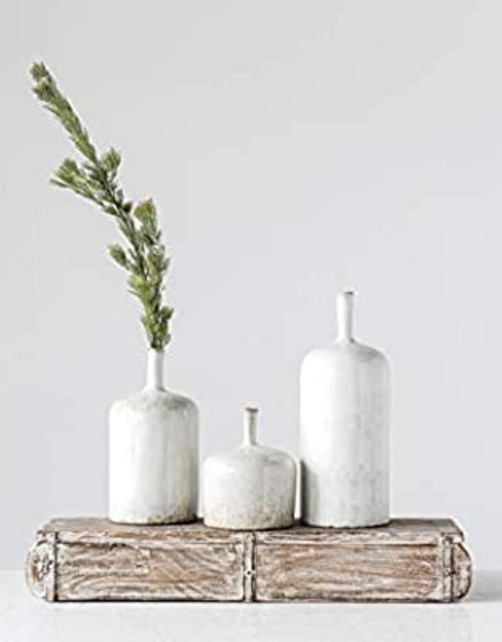 "Vase, White, Stoneware, Reactive Glaze, 5""x6"""