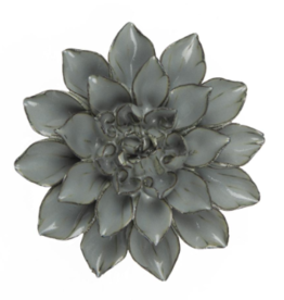 Medium Aqua Black Ceramic Flower