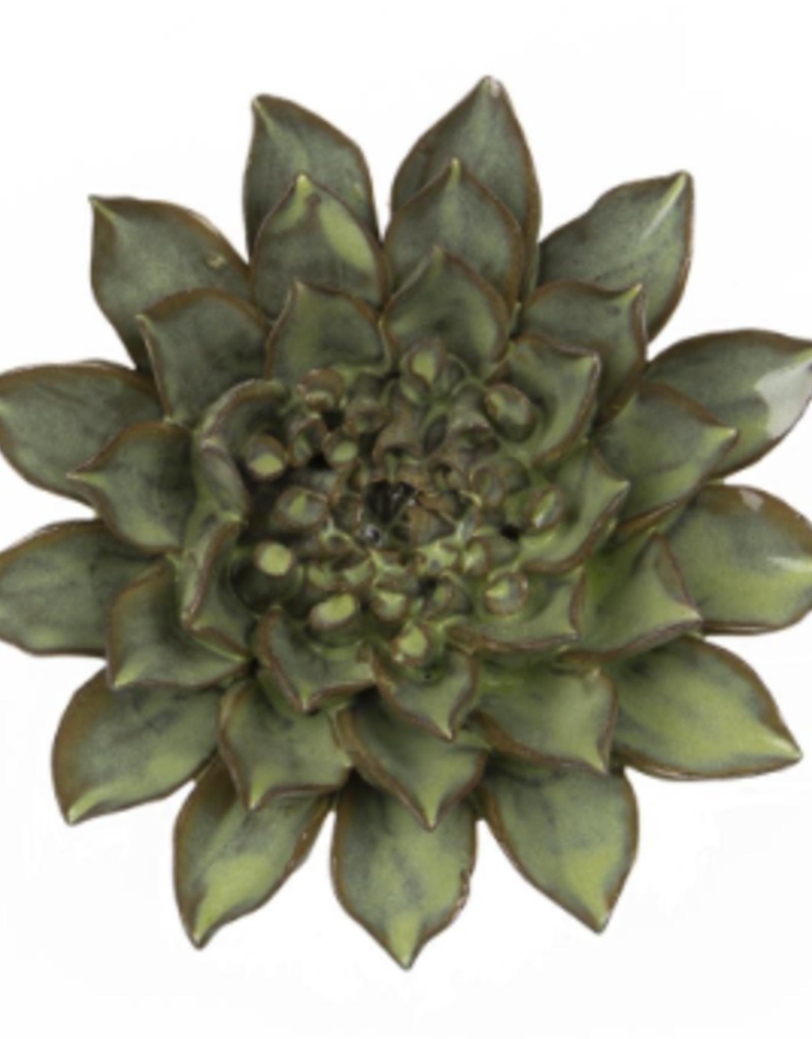 Ceramic Flower, Medium Green