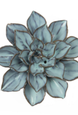 Small Blue Brown Ceramic Flower