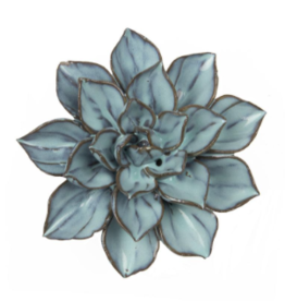 Small Blue Brown Ceramic Flower