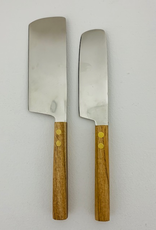 Cheese Knives, Set of 2, Teak, Steel & Brass