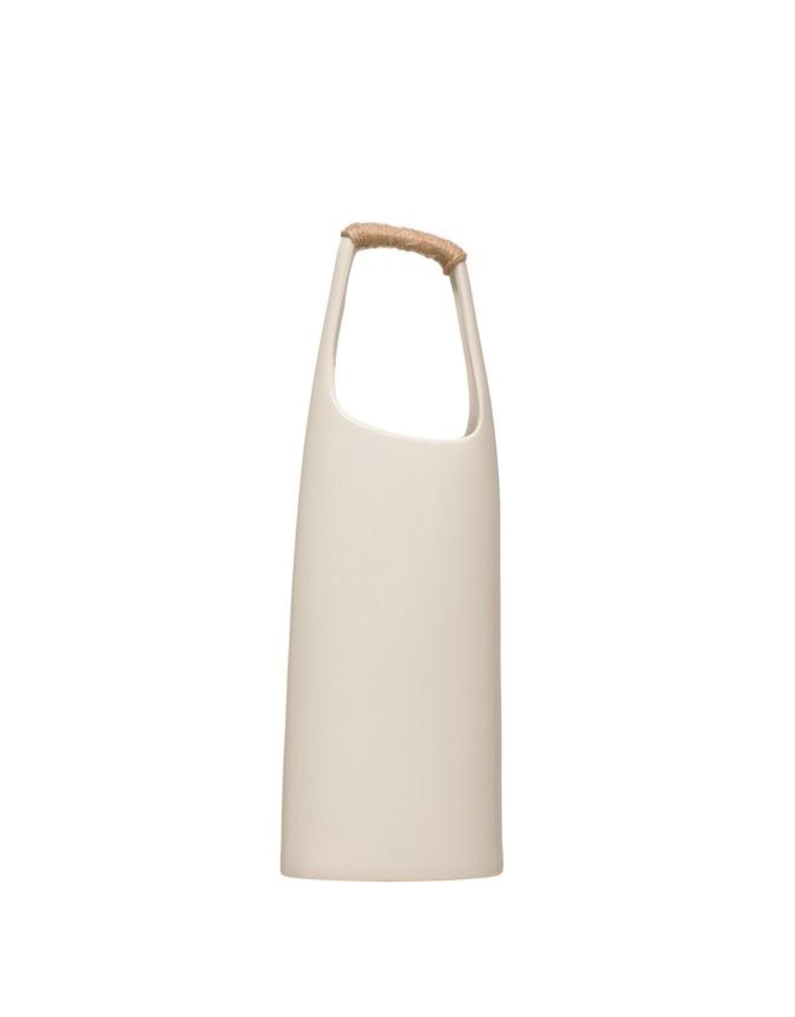 """19"""" White Rattan Wrapped Handle Stoneware Vase"""