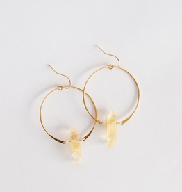 Hoop Earring, Citrine Quart, 18K Gold Plating over Sterling Silver