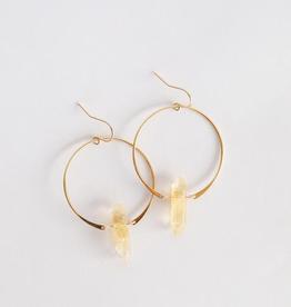 Quartz Hoop Earrings - Citrine