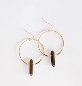 18K Gold Plating over Sterling Silver Smokey Quartz Hoop Earring