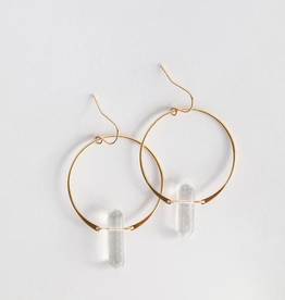 Hoop Earring, Clear Quartz, 18K Gold Plating over Sterling Silver