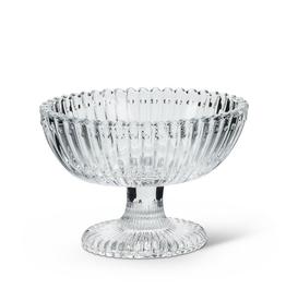 "Oval Glass Pedestal Dish, L3.5"" H2.75"""