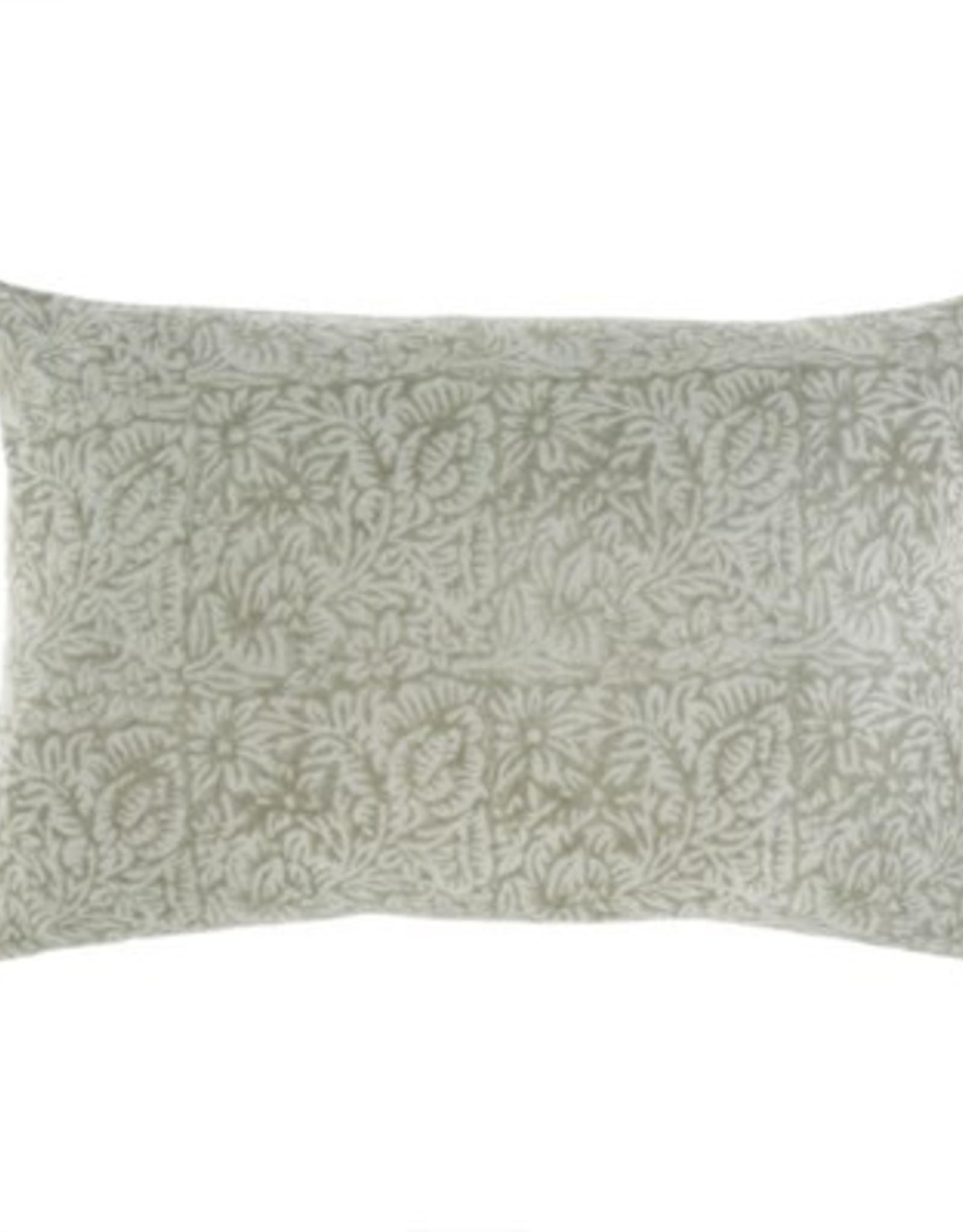"""Mint Printed Velvet Pillow, L24"""" W16"""""""