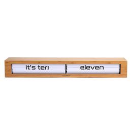 "White Texttime Bamboo Clock L26.5"" H3.15"""