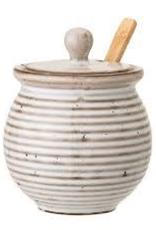 Honey Pot with Dipper, White Stoneware, Reactive Glaze