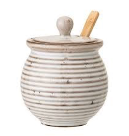 Honey Pot with Dipper, White Stoneware, Reactive Glaze
