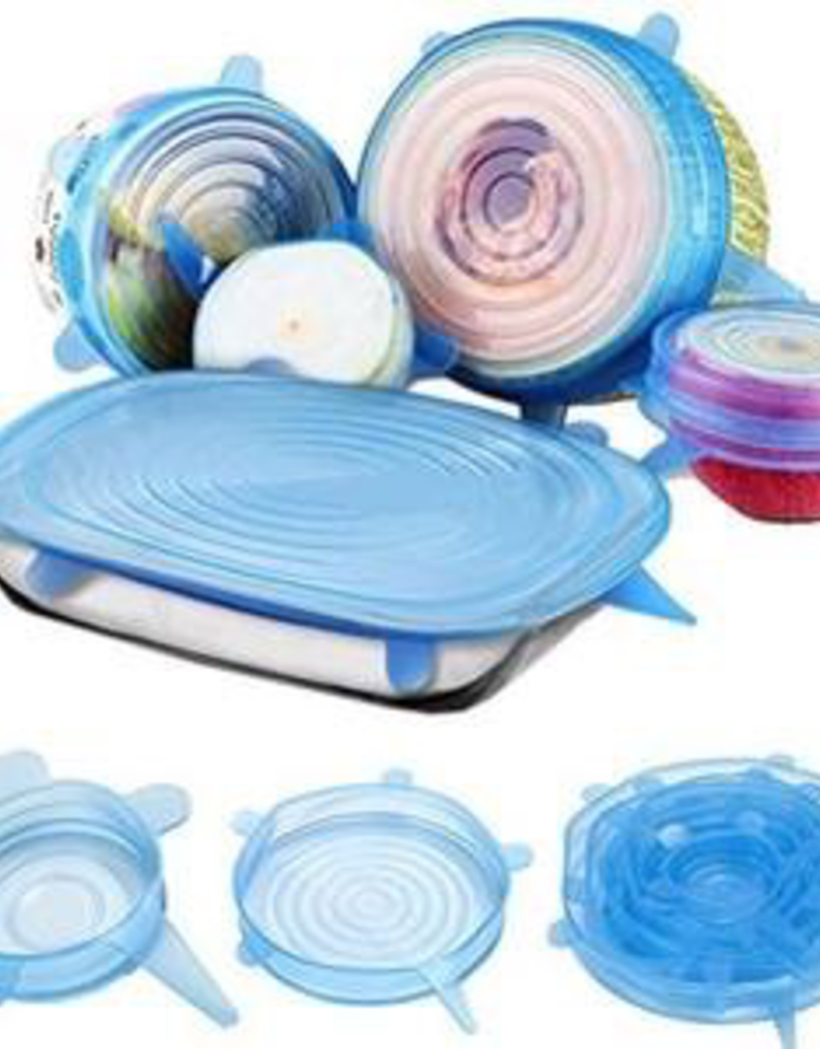 Food Storage Lid, Silicone, Stretch Wrap, Set of 6