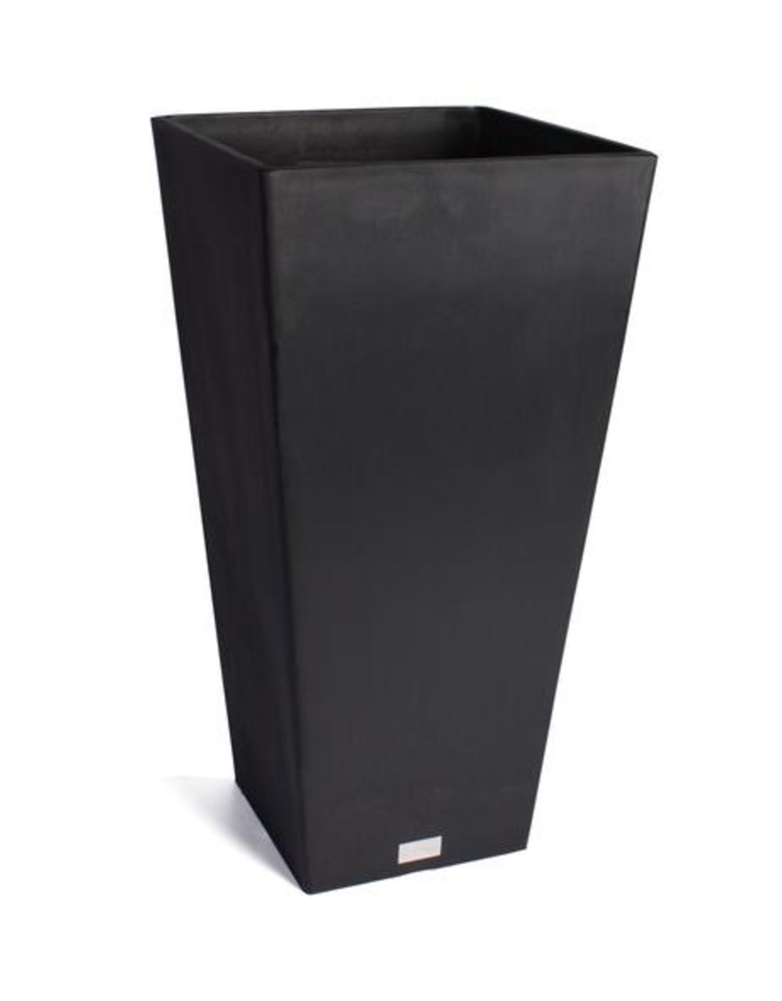 "Planter, Midland, Black Plastic Tapered Square  L13.5"" H24"" W13.5"""