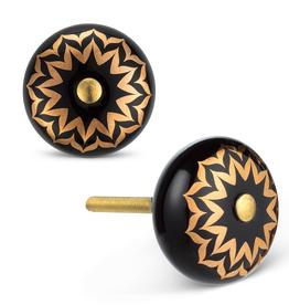 Black & Gold Flower Knob