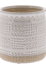 Pot, Ceramic White, Textured, Cheyenne, Sm