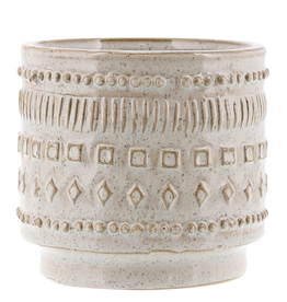"Large Patterned Peru Pot Creamy White Glaze 7"""