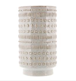Vase, Patterned, White Ceramic, Peru