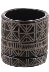 Pot, Ceramic, Black/Natural, Cusco, Med