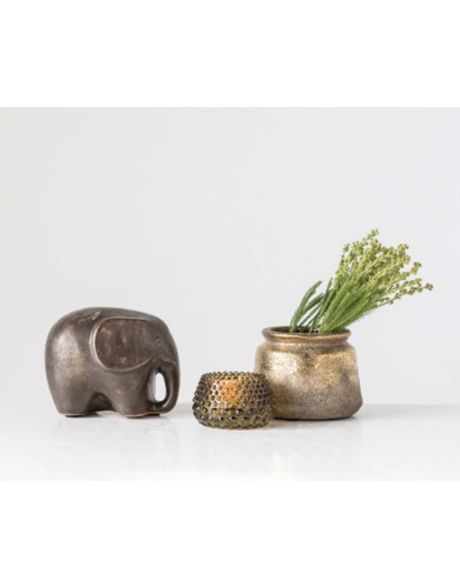 Elephant, Terra-cotta, Reactive Glaze, Metallic