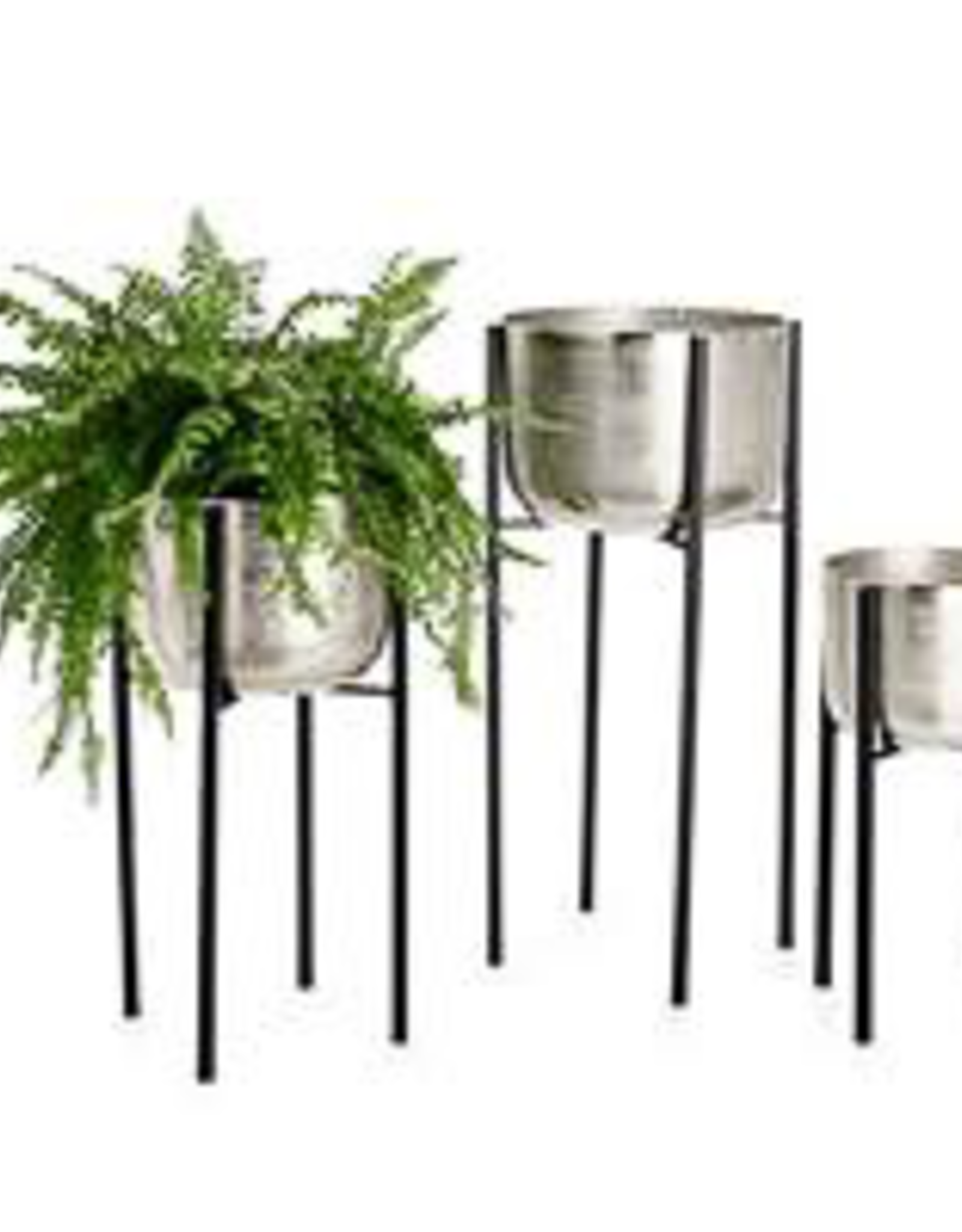 "Planter, On Stand, Aluminum Pot, Small, D10.75"" H19.25"""