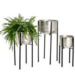 """Small Aluminum Pot Planter on Stand D10.75"""" H19.25"""""""