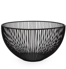 "Basket, Linear Rib, Tall, Black, Metal, D10"" H5.5"""