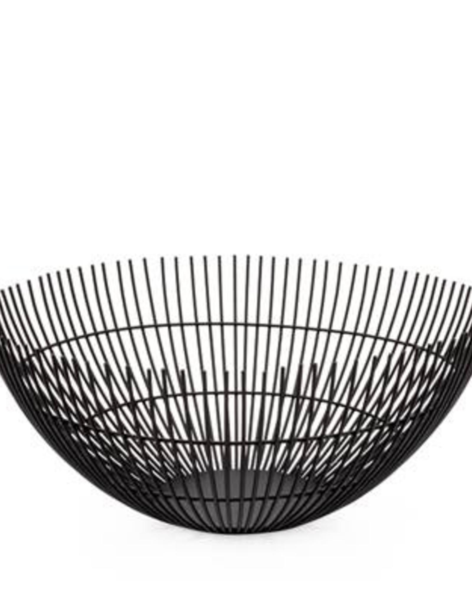 "Basket, Metal, Linear Rib, Black, D11"""