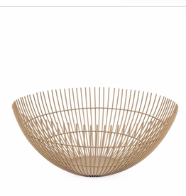 Basket, Metal, Linear Rib, Gold, D11""
