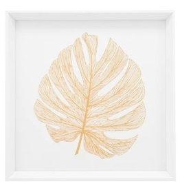 "Print, Canvas, Gold Monstera Leaf, 17"" Square"