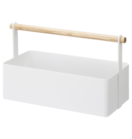 Tool Caddy, Tosca, White Metal with Wood Handle, Large
