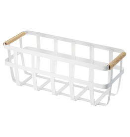 Basket, Tosca, White Metal with Wooden Handles