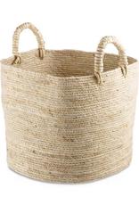 "Large Natural Maiz Basket with Handles 13.4"""