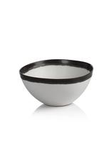 "Bowl, White with Black Rim, Ceramic, D 6.25"""