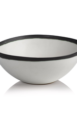 Bowl, White with Black Rim, Ceramic, D 11.25""