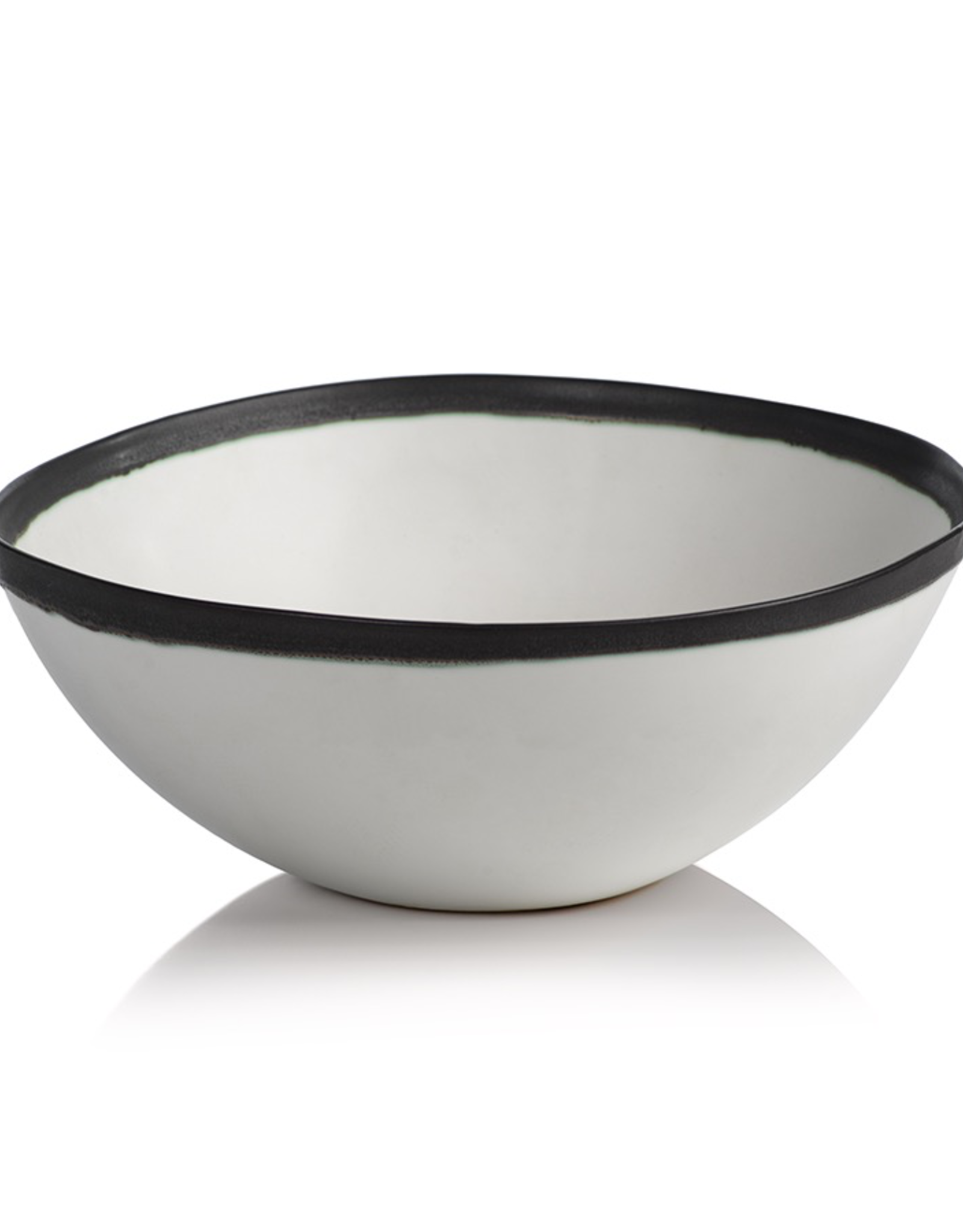 "Bowl, White with Black Rim, Ceramic, D 11.25"""
