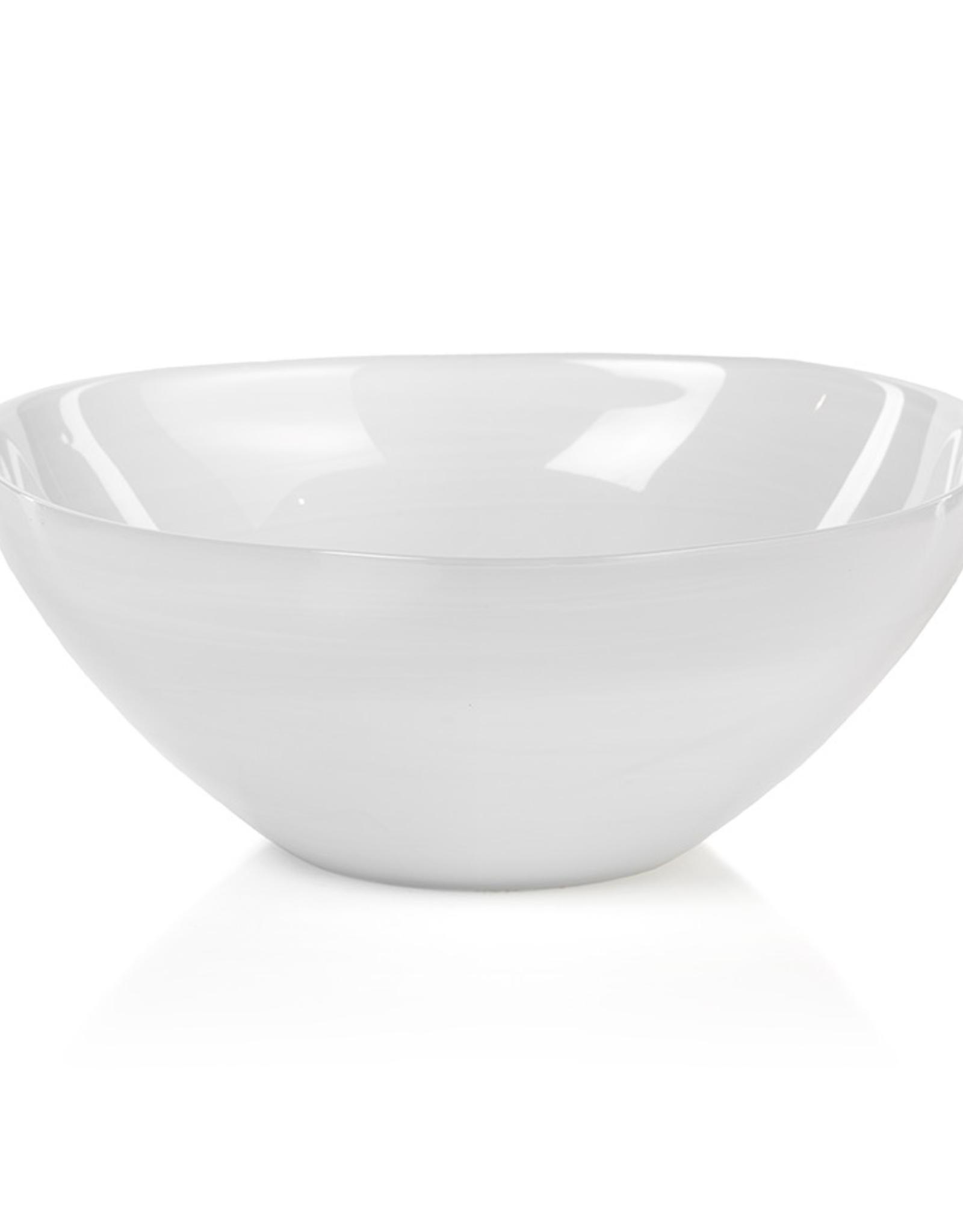 "Bowl, Monte Carlo, White Alabaster Glass, D 11.5"""