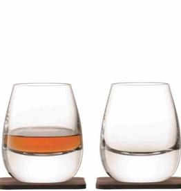 Set of 2 Islay 250ml & Walnut Coaster Whisky Tumbler