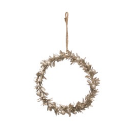"7"" Champagne Finish Faux Round Wreath"