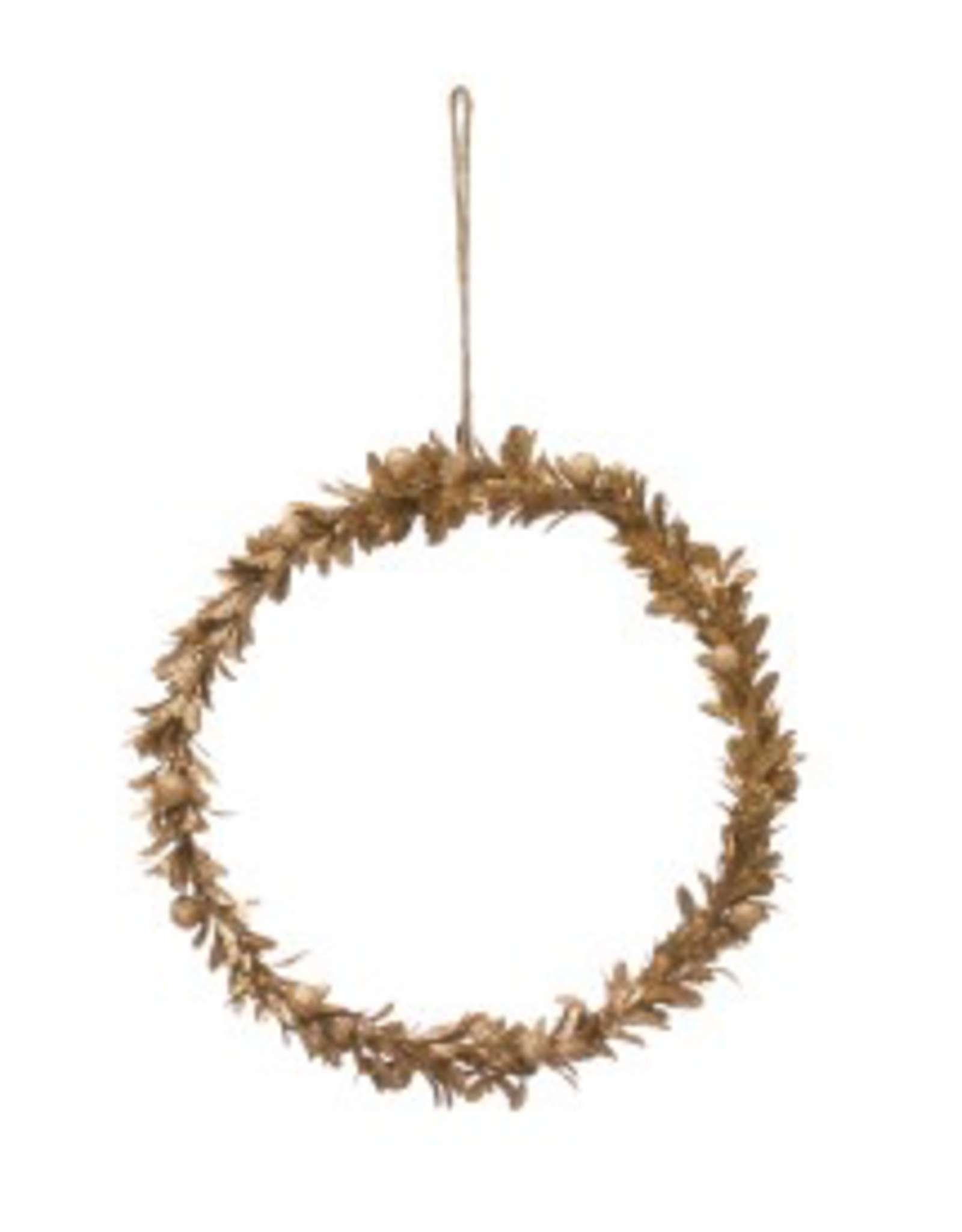 """11"""" Round Gold Finish Faux Wreath"""