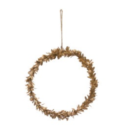 "11"" Round Gold Finish Faux Wreath"